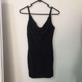 BLACK GLITTERY MINI DRESS