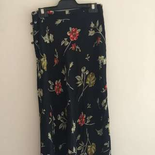 Long Flower Skirt 100% Rayon Made In Korea Size Au 8