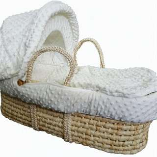 New Moses baby bassinet with stand and soft linen