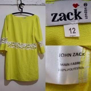 JOHN ZACK LONDON Yellow Shift Dress