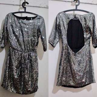 PROPOSITION Sequinned Backless Dress