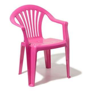 Pink colour plastic table and chair