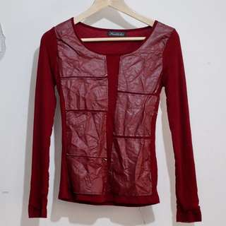 KAILISHI Red Faux Leather Patch Top