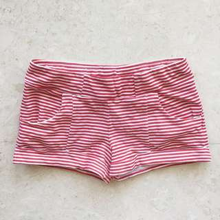 🌸 Supre Red White Stripe Hot Pants Mini Shorts Cuffed XS