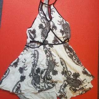 Floral White Playsuit Size S
