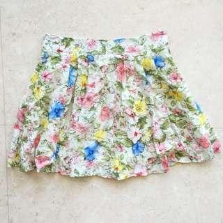 🌻 Floral Cream Pink Blue Multicolour For Flare Skater Skirt S