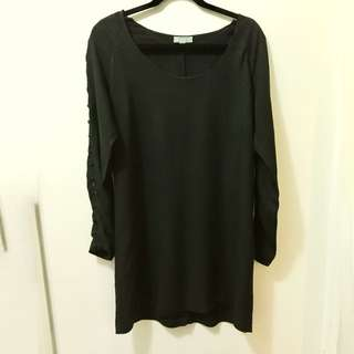 Long Sleeve Black Mini Dress With Sleeve Button Detail