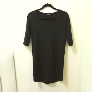 3/4 Sleeve Decjuba Black Knit Dress 100% Wool