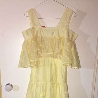 Yellow 60's Style Formal Dress