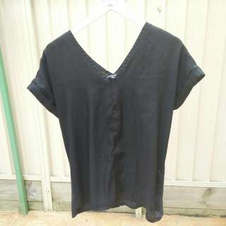 silky oversized wide v-neck black top