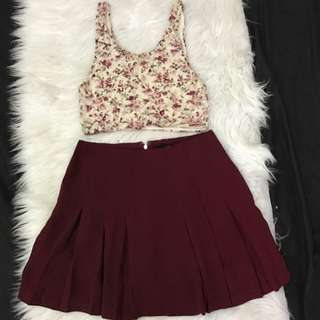 1 set *croptop n skirt XXI