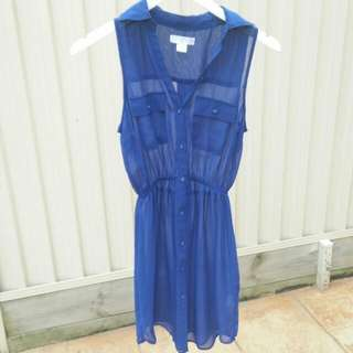 COTTON ON royal blue sheer dress - size xs, 6, 8, 10