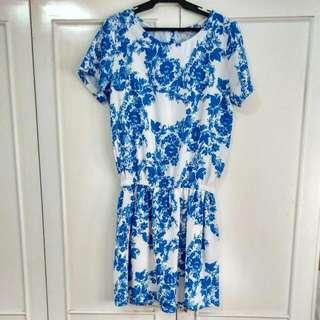 Blue/white Floral Drop Waist Dress