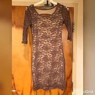 Beige Tan Lace Dress
