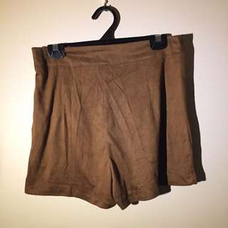 Brown Suede Flowy Shorts