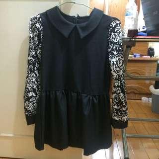 黑色長袖小洋裝