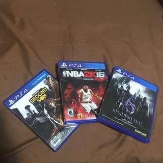 RE6, Infamous, NBA2k16 - PS4