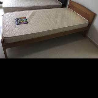 Used SINGLE wooden Bed & Mattress