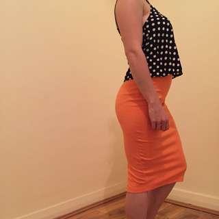 BARDOT Orange Midi Skirt Sz S