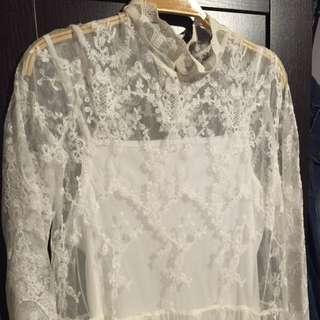 全新 復古簍空2件式蕾絲長袖白紗長洋裝