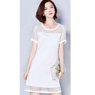 #154 Mesh Panel Detail Casual Korean Shift Dress (White)