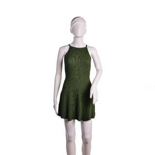 #521 Slip On Knitted Spaghetti Strap Low Back Fit and Flare Dress (Green)