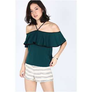 BNWT LB Illeana Off Shoulder Top - Green