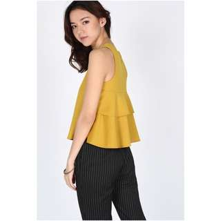 BNWT LB Faiga Ruffle Back Top - Yellow