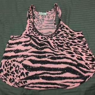 Forever 21 Zebra Croptop Tanktop