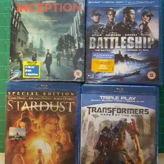 Blueray Battleship, Inception, Stardust And Transformers Dark Of the Moon
