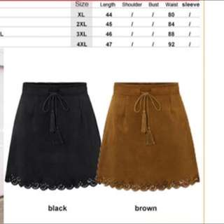 BN with Tag Suede Skirt Brown PLUS SIZE
