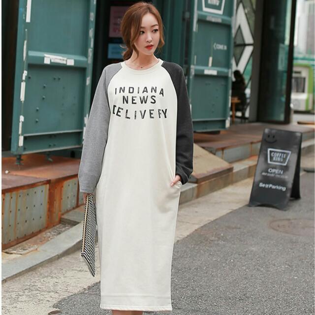 (33700)拼接印花寬鬆T恤(白色)