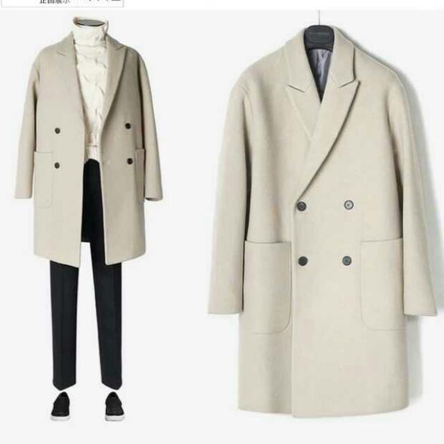 【現貨專區】韓國混羊毛米白純色落肩雙排扣中長大衣