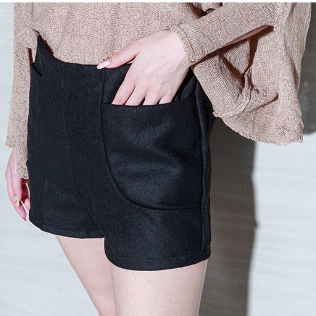 ✨ 暖暖口袋毛呢高腰褲