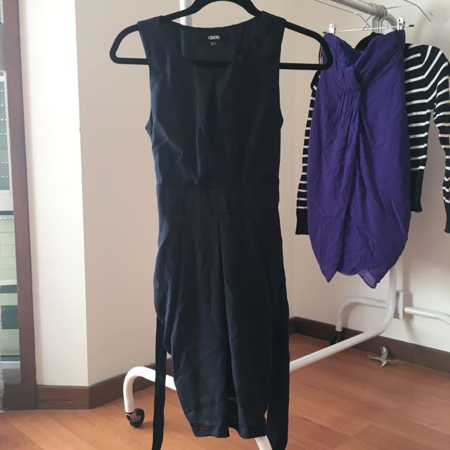 ASOS Navy Chiffon Dress