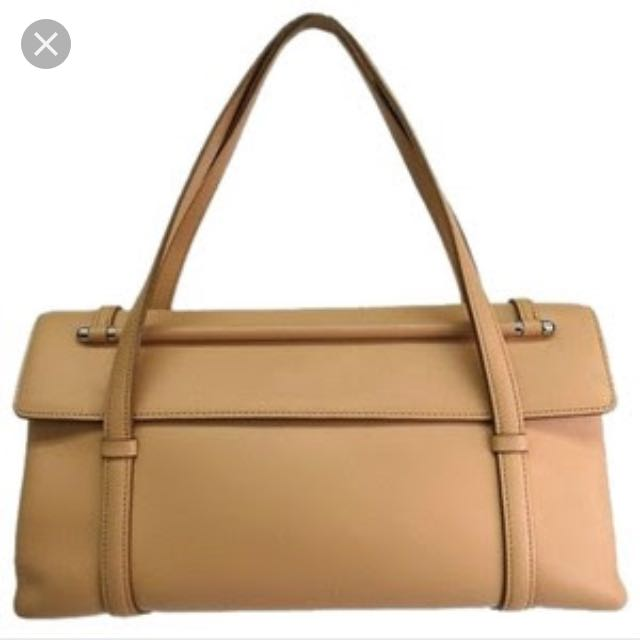 Auth Cartier Hand bag Cabochon Leather Beige
