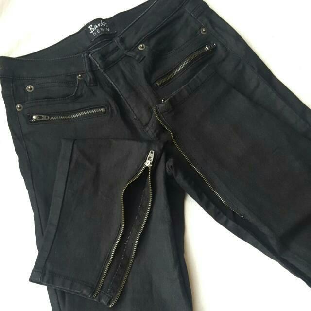 Bardot Leather Like Jeans Size 6