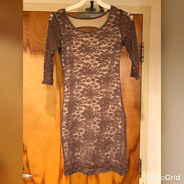 Beige Tan Lace Dress