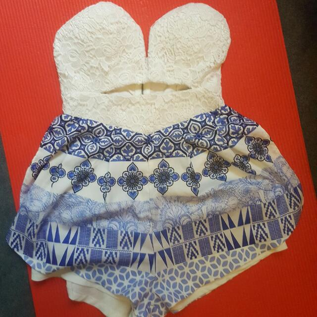 Blue And White Lace Playsuit