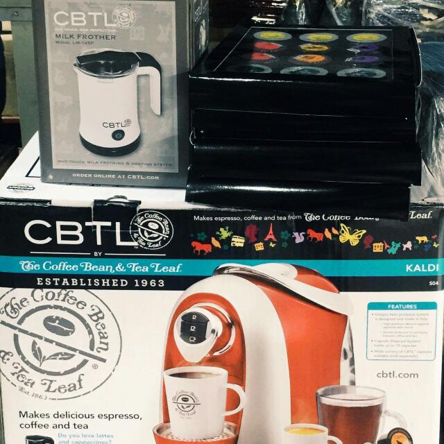 CBTL Kaldi Coffee Maker, Milk Frother, and 4 Sets Of Capsules