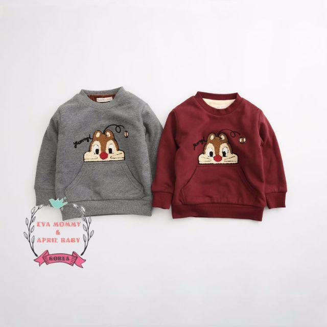 EVA EVA SHOP 冬季新品-男女寶寶兒童奇奇蒂蒂加厚內刷毛口袋上衣