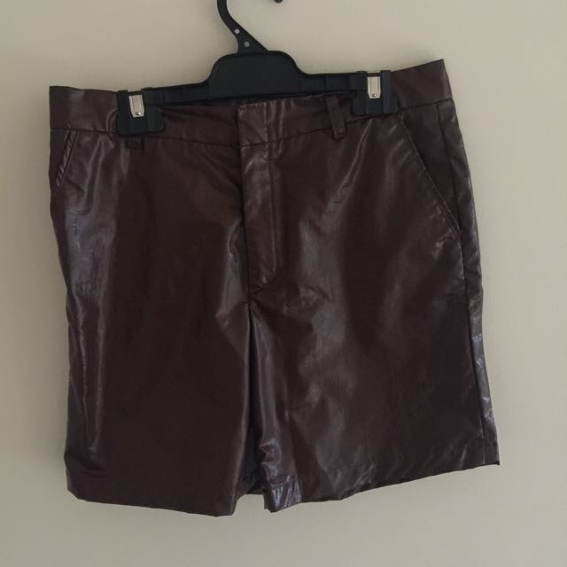 Faux Leather Shorts Men's Size S