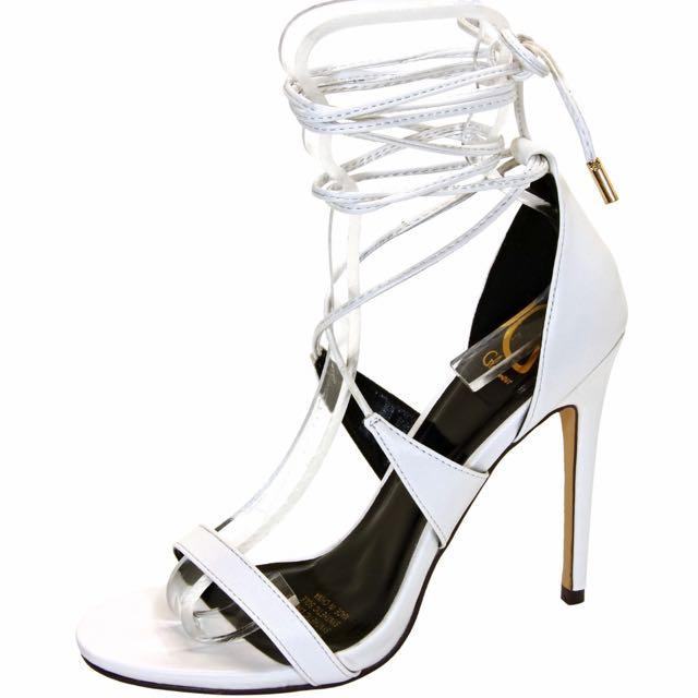Glamour Chantia White Heels SIZE 7