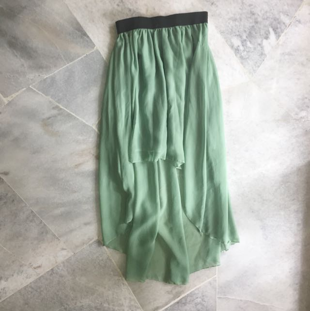 High Waisted High Low Chiffon Skirt
