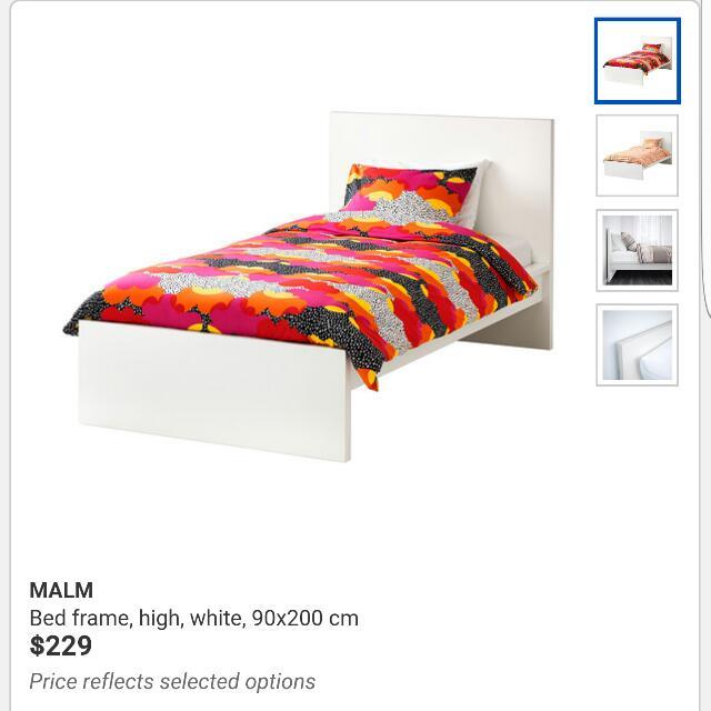 IKEA MALM Single Bed Frame (White), Home & Furniture, Furniture ...