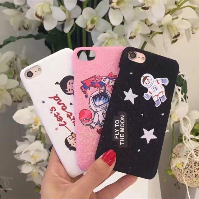 韓國超萌太空人傳聲筒卡通閃粉iPhone手機殼iphone7/iphone6/plus