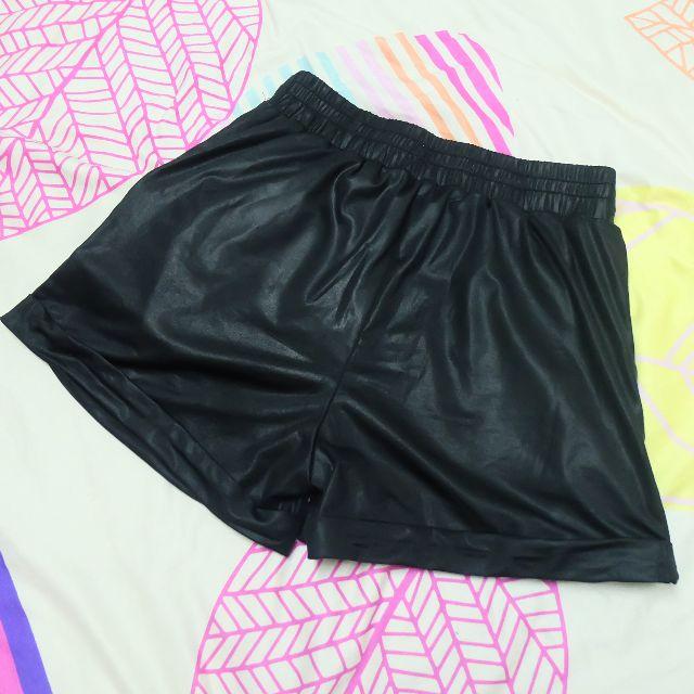 Kitschen Black Leather-a-like Shorts