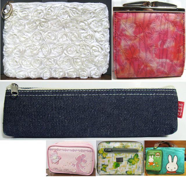 玫瑰花手拿包、浮雕竹子珠扣包/小皮包、牛仔布筆袋、蝴蝶零錢包/手拿包、miffy米飛兩用手提包/手提袋+手機包/手機袋、米妮化妝包/收納包