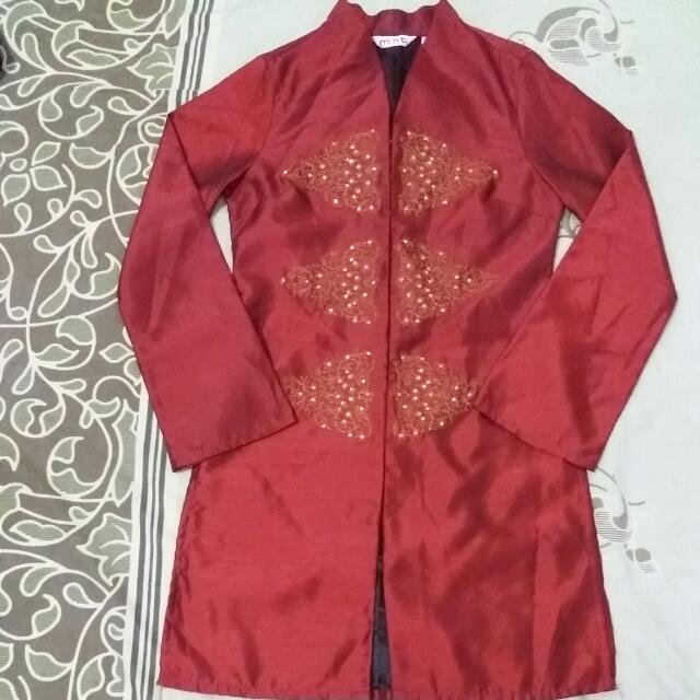 Sepasang Baju Muslim Maroon