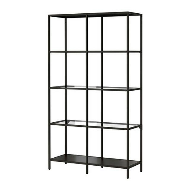 Shelves unit, Black and glass